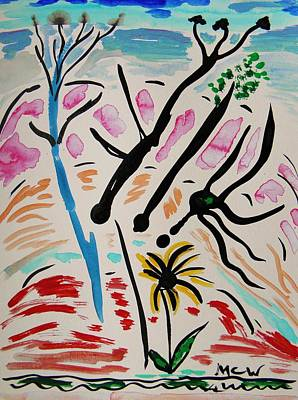 Painting - Blooming Trees,  Red Hills And Flower by Mary Carol Williams