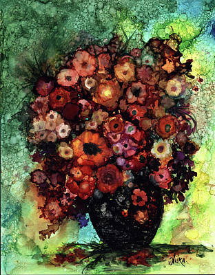 Painting - Blooms And Black Onyx by Alika Kumar
