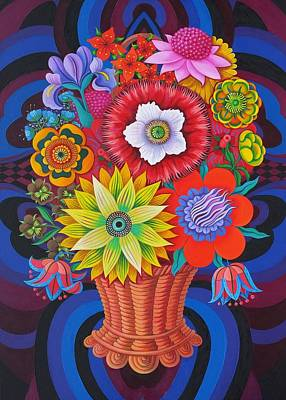 Multi Colored Painting - Blooms In A Basket by Jane Tattersfield