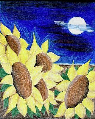 Mixed Media - Blooms Under The Moon by Heidi Moss