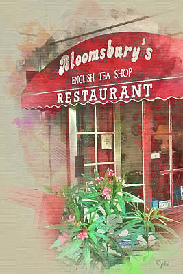 Digital Art - Bloomsbury's English Tea Shop by Paulette B Wright