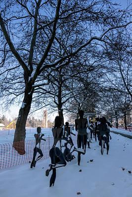 Bloomsday Run Winter Finish Art Print by Daniel Hagerman