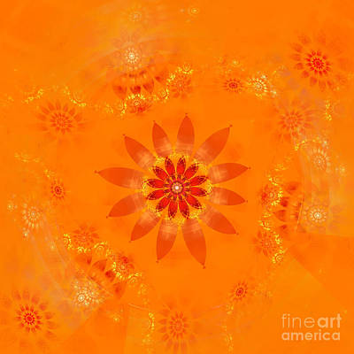 Art Print featuring the digital art Blossom In Orange by Richard Ortolano