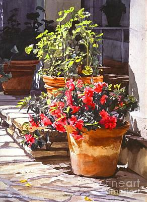 Geraniums Painting - Blossom Niche by David Lloyd Glover