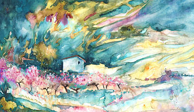 Painting - Blossoming Almond Trees On The Costa Blanca by Miki De Goodaboom