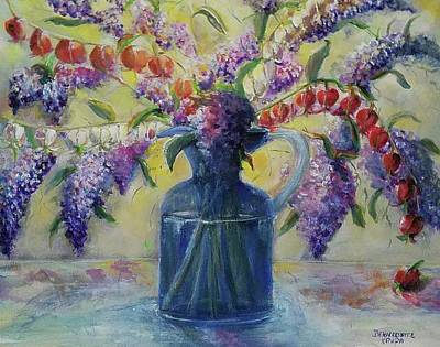 Painting - Blossoming Bleeding Hearts And Purple Lilacs II  by Bernadette Krupa