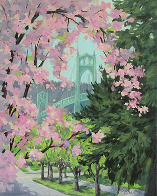 Painting - Blossoming Bridge by Karen Ilari