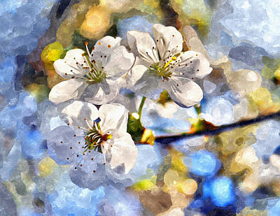 Blossoming Cherry And Morning Sunlight Watercolor Art Print