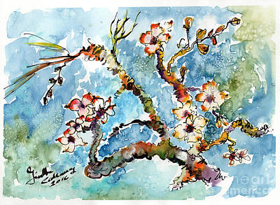 Painting - Blossoming Almond Tree Watercolor by Ginette Callaway