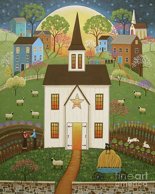 Farm Barn House Painting - Blossoming Love by Mary Charles