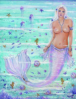 Painting - Blossoming Ocean Mermaid by Renee Lavoie