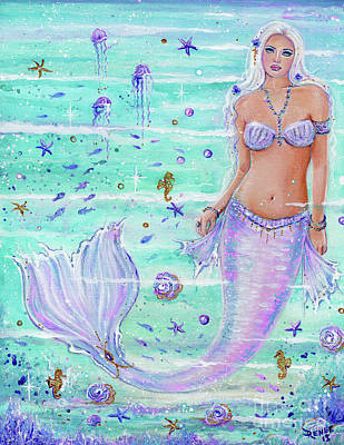 Painting - Blossoming Ocean Mermaid With Top by Renee Lavoie