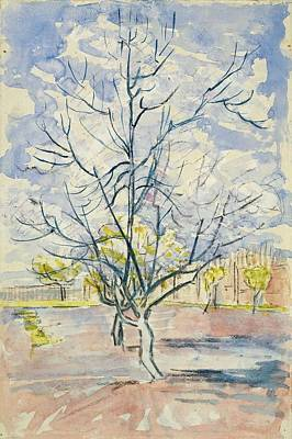 Painting - Blossoming Peachtrees Arles  April 1888 Vincent Van Gogh 1853  1890 by Artistic Panda