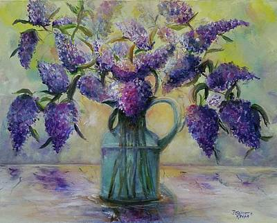 Painting - Blossoming Purple Lilacs I  by Bernadette Krupa