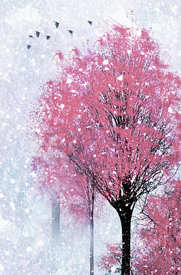 Mixed Media - Blossoms In Winter Wall Art by Georgiana Romanovna