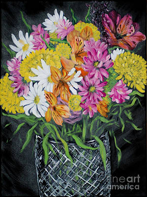 Painting - Blossoms Of Joy. Flowers In A Vase. Charming Holiday And Home Art Collection 2015 by Oksana Semenchenko