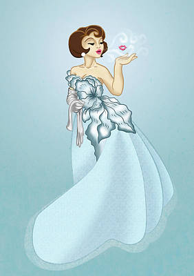 Ball Gown Drawing - Blow A Kiss- Blue Version by Rachel Marquez