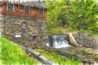 Photograph - Blow Me Down Mill Cornish New Hampshire Pencil by Edward Fielding