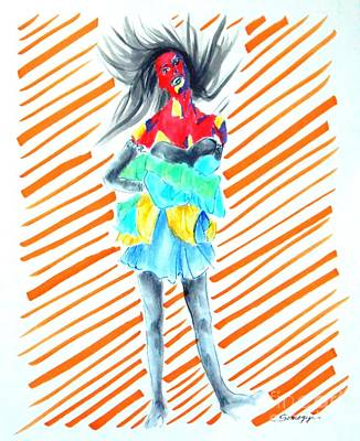 Windblown Drawing - Blowin' In The Wind -- Dynamic Fashion Drawing by Jayne Somogy