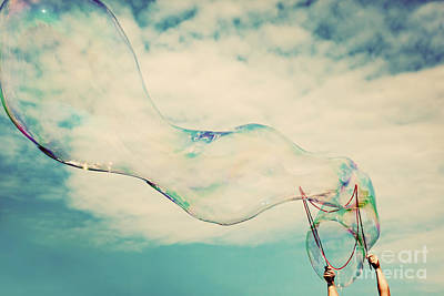 Blow Photograph - Blowing Big Soap Bubbles In The Air by Michal Bednarek