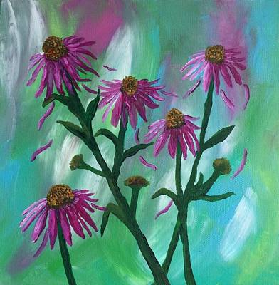 Abstracted Coneflowers Painting - Blowing In The Wind  by Kim Mlyniec
