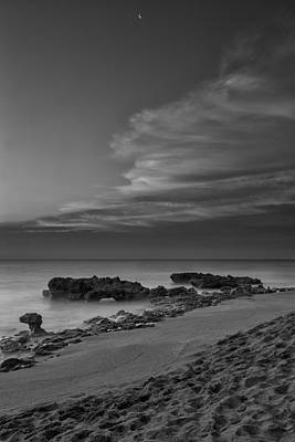 Blowing Rocks Black And White Sunrise Art Print