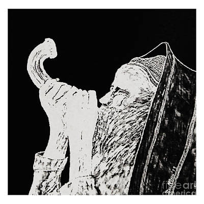 Photograph - Blowing The Shofar - Scratch Board Art by Merton Allen