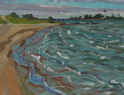 Huron Painting - Blown Away Southampton Beach by Phil Chadwick