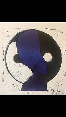 Printmaking Mixed Media - Blu Moon by Janay McIntosh
