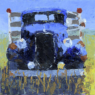 Painting - Blue 1936 Ford Flatbed Truck by David King