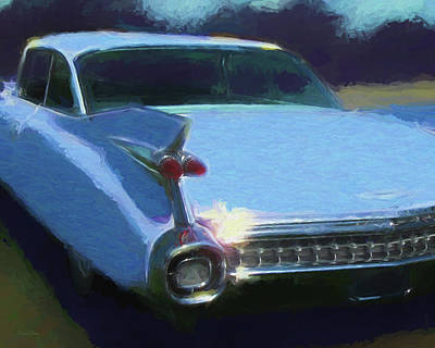 Digital Art - Blue 1959 Cadillac Tailfin by David King