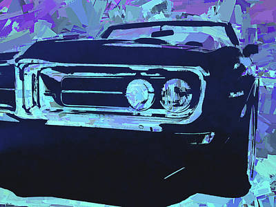 Digital Art - Blue 1968 Firebird Pop by David King