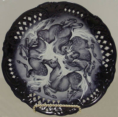 Ceramic Art - Blue 4 Horse Plate by Shirley Heyn