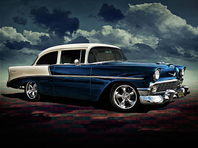 Classic Chevrolet Digital Art - Blue '56 by Douglas Pittman