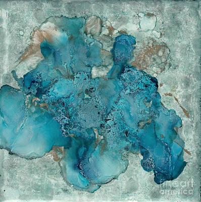 Ceramic Art - Blue Abstract Alcohol Ink On Tile by Conni Schaftenaar