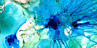 Organic Painting - Blue Abstract Art - A Calm Energy - By Sharon Cummings by Sharon Cummings