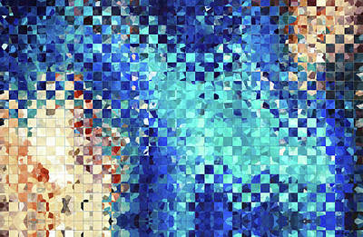 Large Painting - Blue Abstract Art - Pieces 2 - Sharon Cummings by Sharon Cummings
