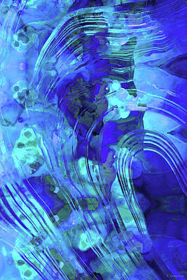 Painting - Blue Abstract Art - Reflections - Sharon Cummings by Sharon Cummings