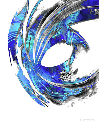 Painting - Blue Abstract Art - Swirling 3 - Sharon Cummings by Sharon Cummings