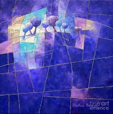 Blue Abstract Figurative 088 Art Print