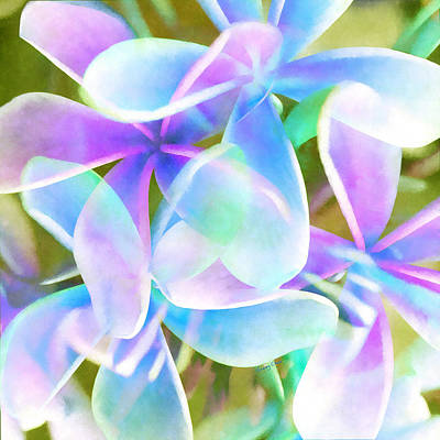 Blue Abstract Floral  Art Print