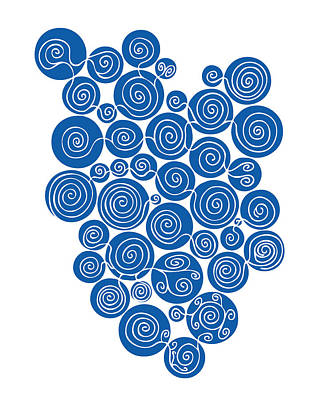 Flourishes Drawing - Blue Abstract by Frank Tschakert