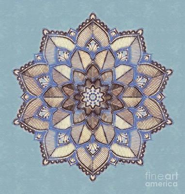 Blue And White Mandala Art Print
