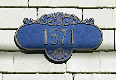 Photograph - Blue Address Plaque by Ethna Gillespie