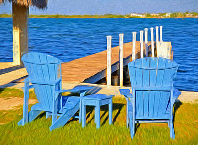 Photograph - Blue Adirondack Chairs At Dock In Keys by Ginger Wakem