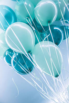 Photograph - Blue Air Ballons Background by Anna Om