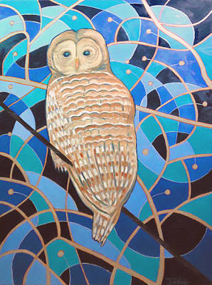 Painting - Blue Al Whimsical Owl Painting by Scott Plaster