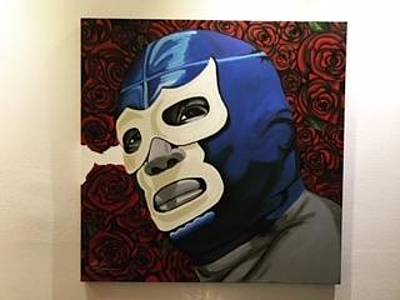 Luchador Painting - Blue by Alberto Soto