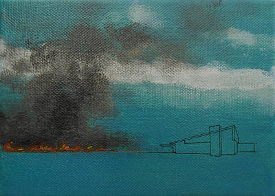 Painting - Blue Alexander With Brush Fire by Stan  Magnan