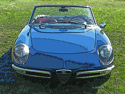 Blue Alfa Romeo Spyder Art Print by Samuel Sheats